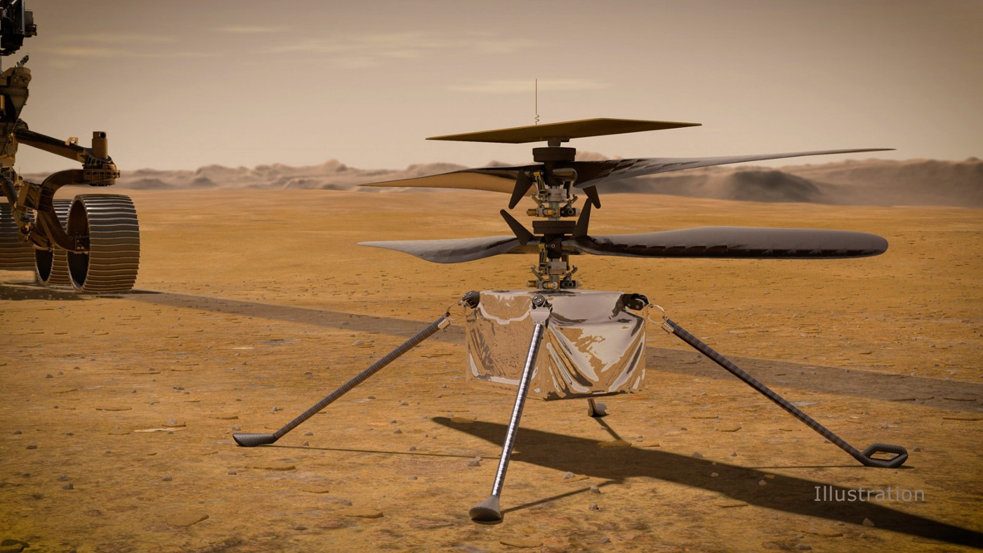 In this artist's concept, NASA's Ingenuity Mars Helicopter stands on the Red Planet's surface as NASA's Mars 2020 Perseverance rover (partially visible on the left) rolls away.