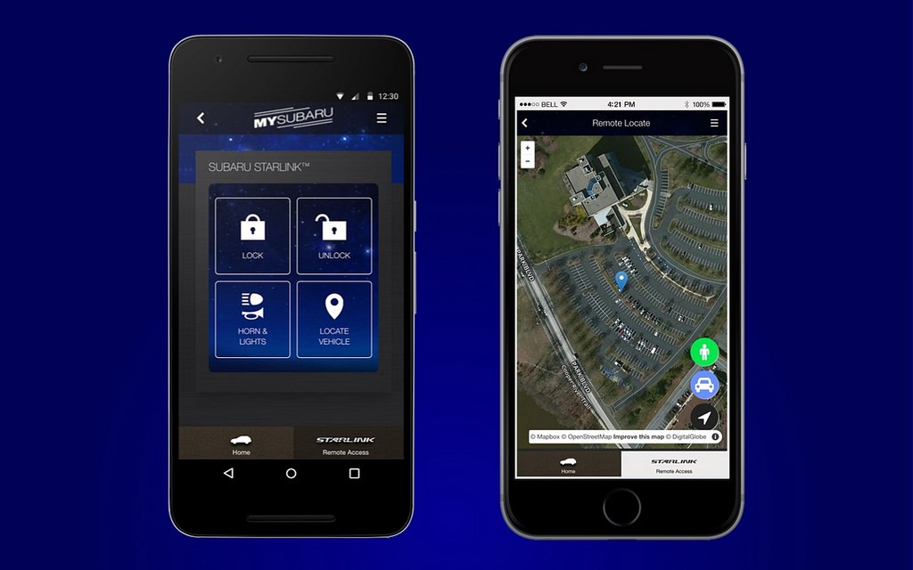Subaru Starlink connected car maps - Points of interest