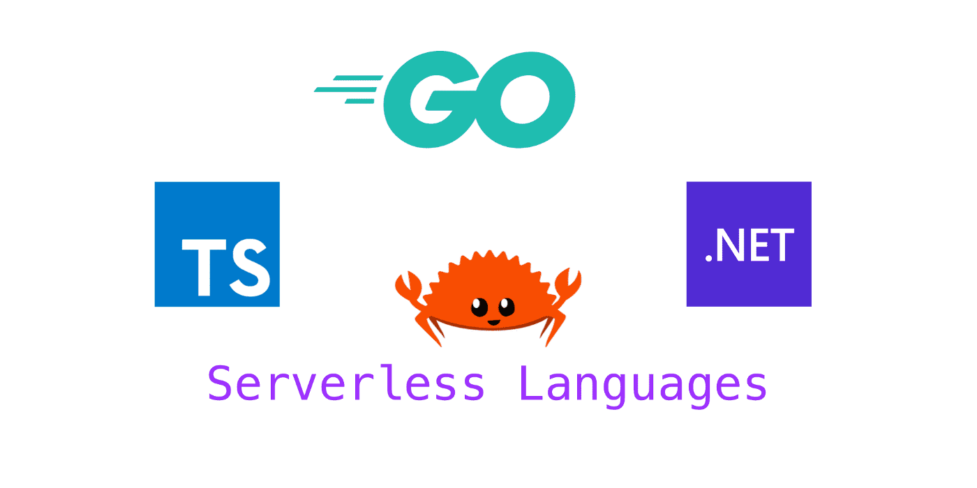 The Ferris the Crab, along with the logos for TypeScript, .NET, and Go, sit above the text 'Serverless Languages'.