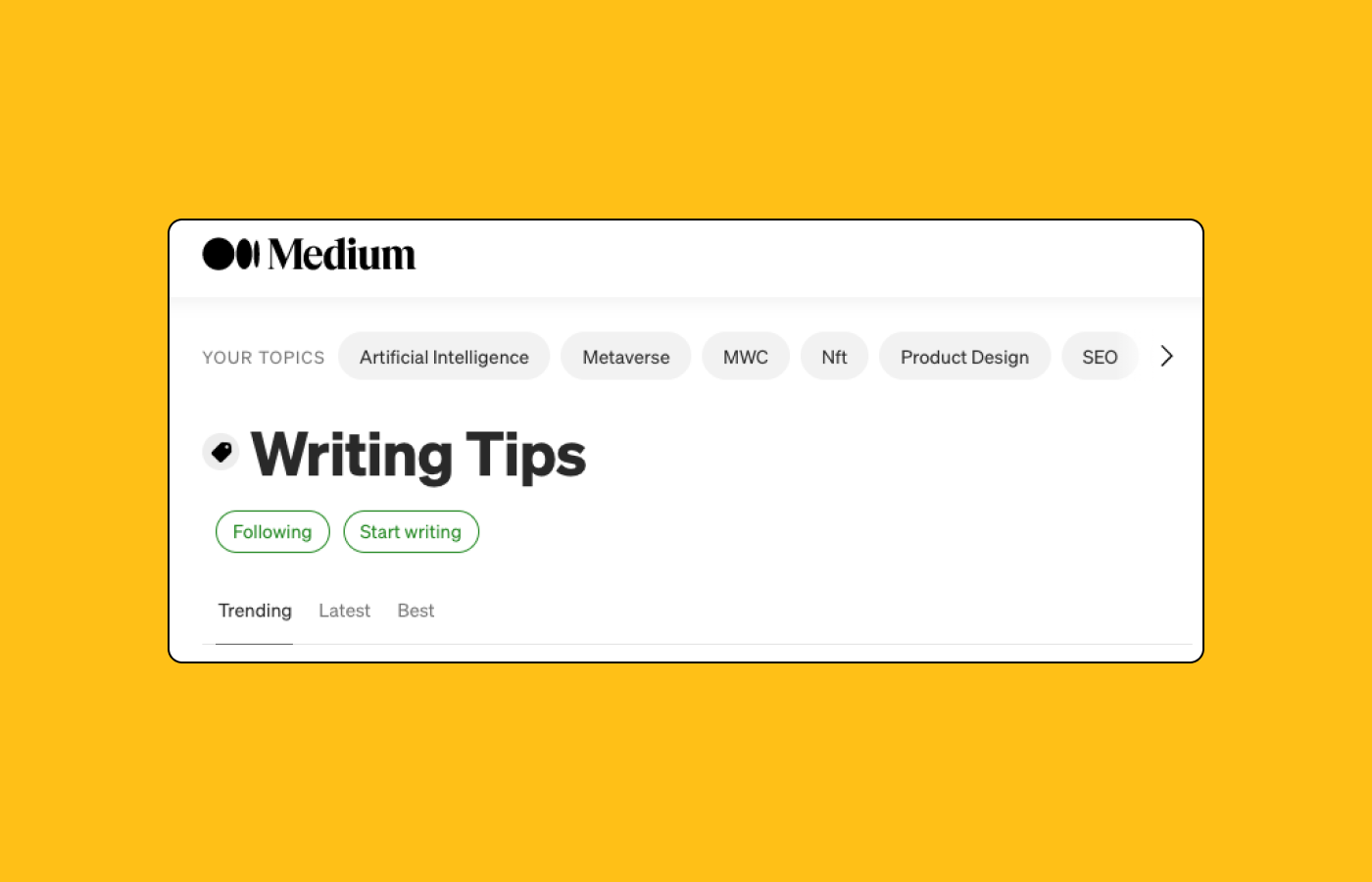 A screenshot of Medium new topic pages