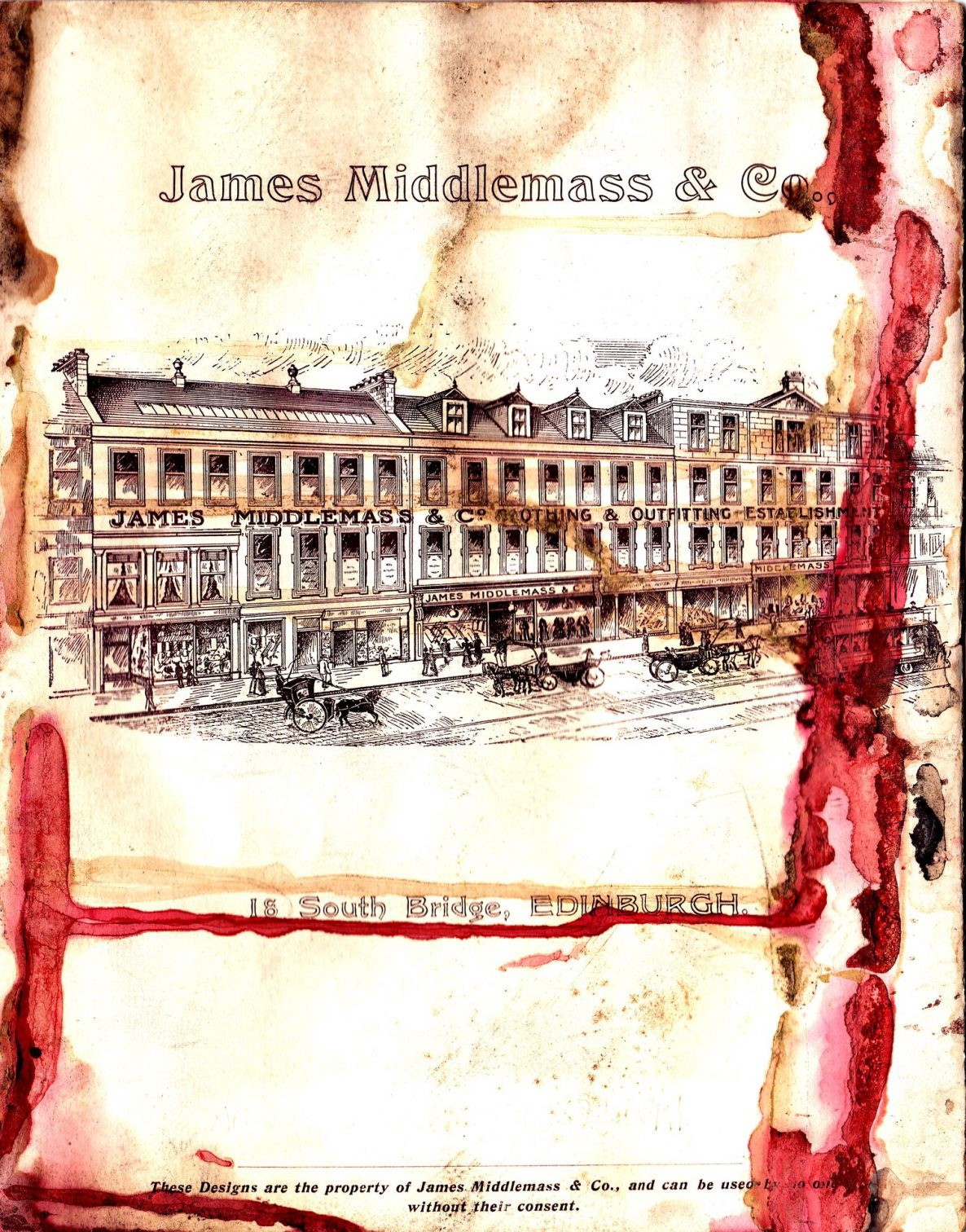 Glorious illustration of James Middlemass & Co's buildings at 18 South Bridge