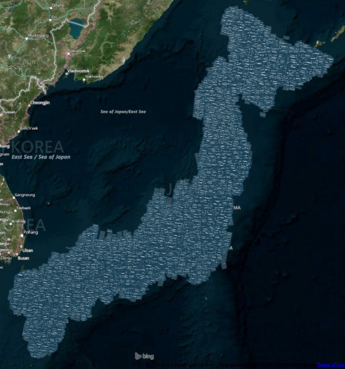 Medium resolution satellite imagery coverage of Japan
