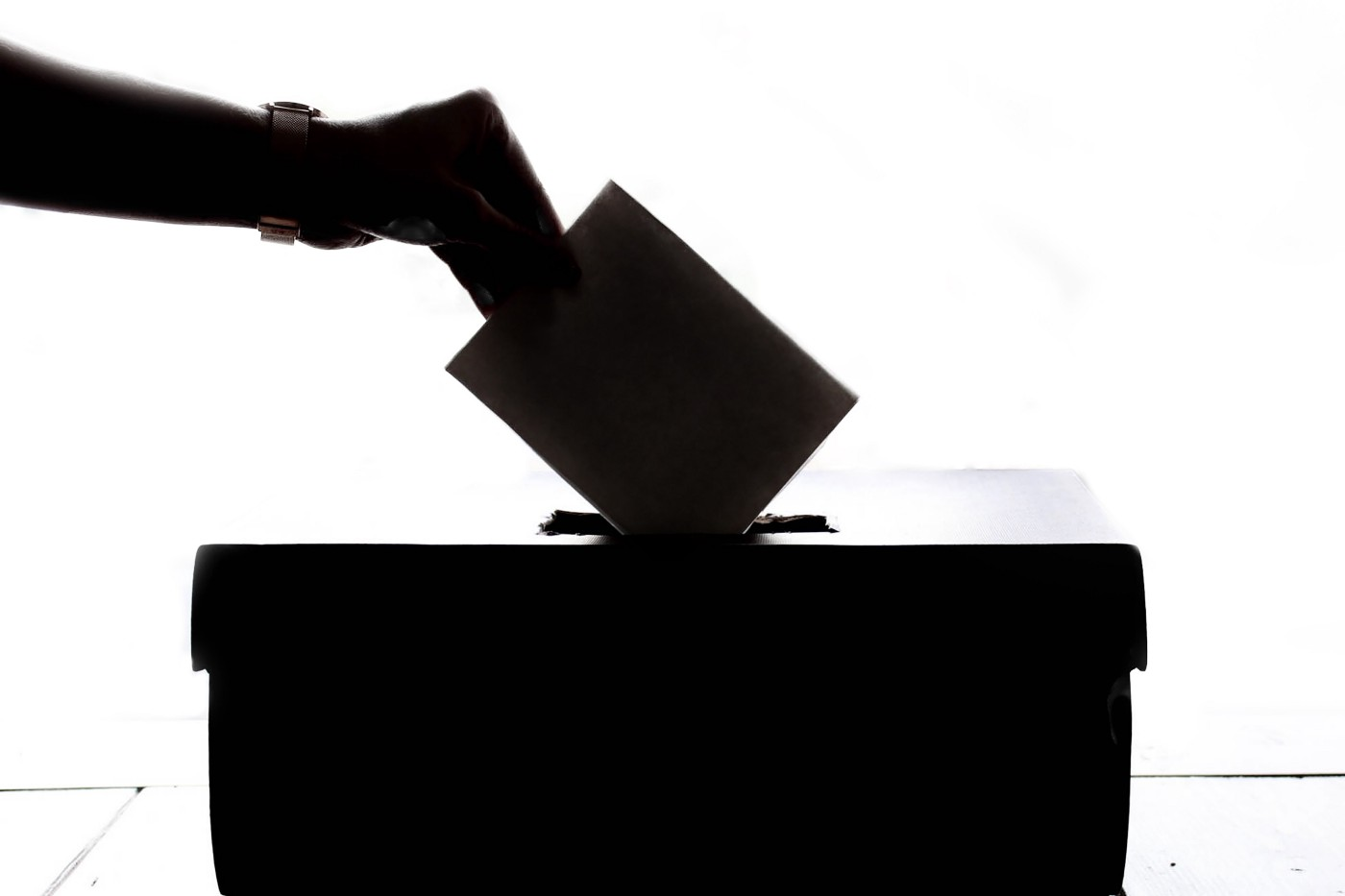 Silhouette of a voter posting their ballot in a ballot box