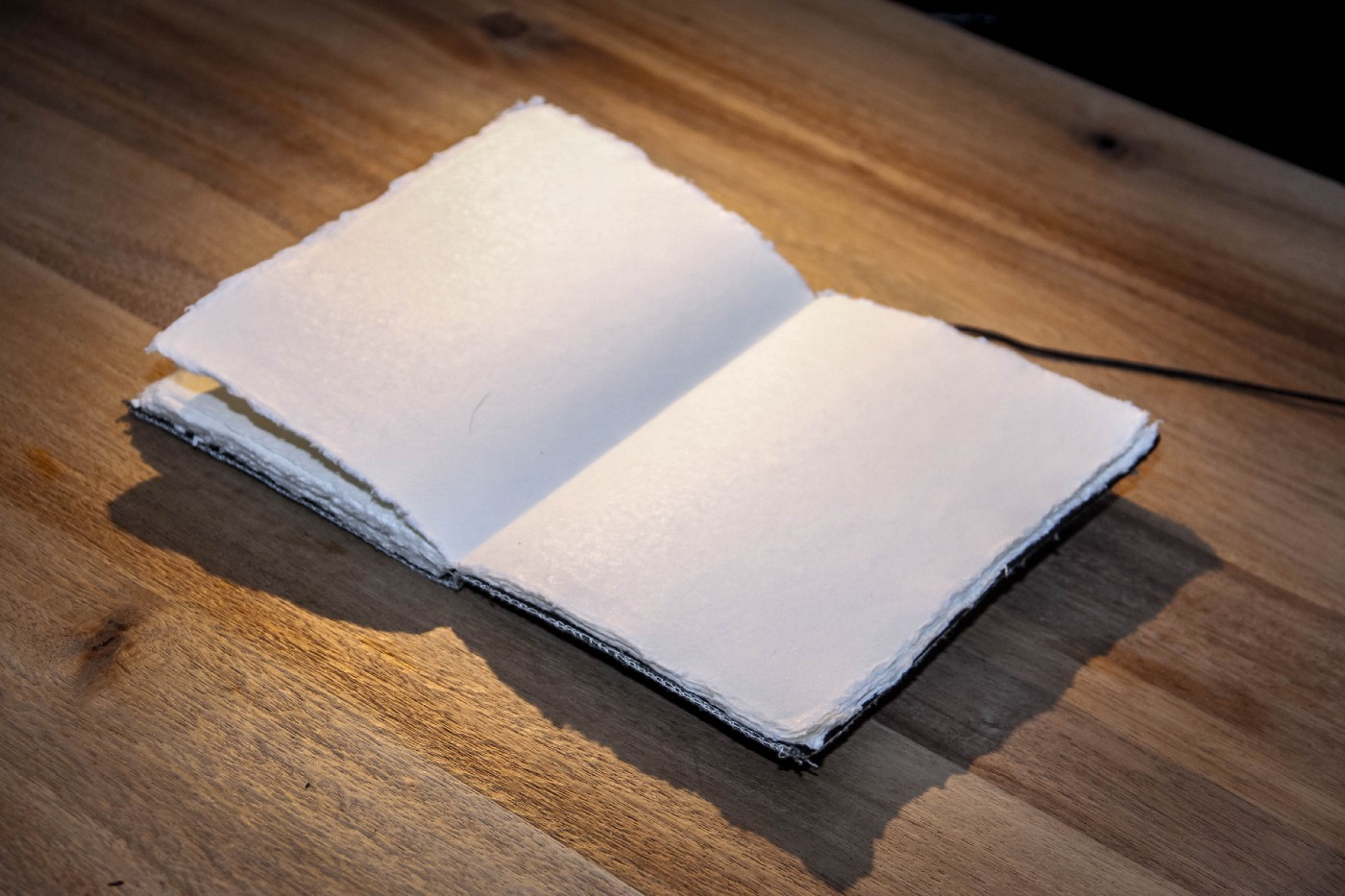 A blank journal on a table