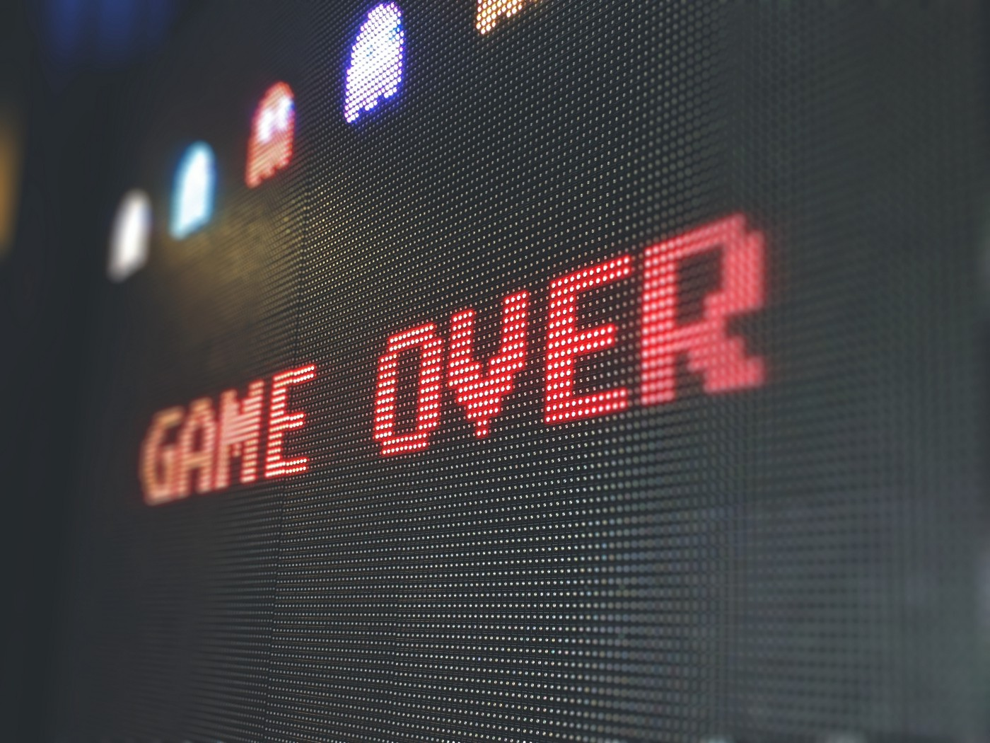 Game over message, representing the frustration of running out of memory.