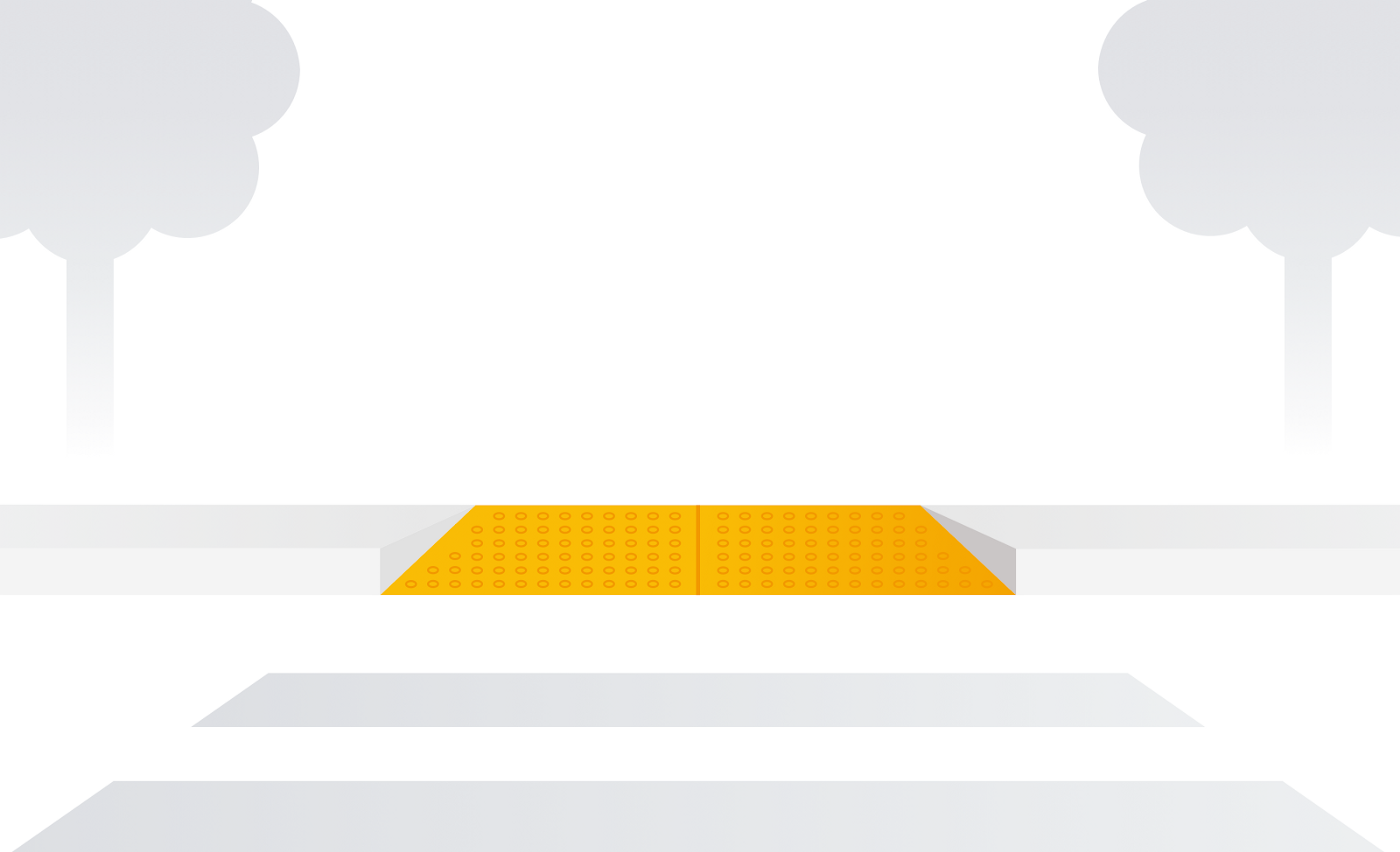 Illustration of yellow curb cut with raised bumps