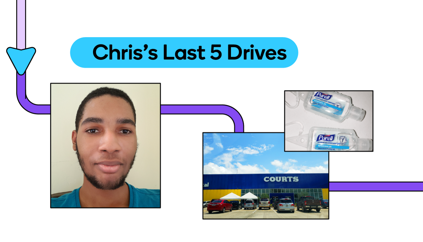 A glimpse at Chris's Last 5 Drives with Waze.