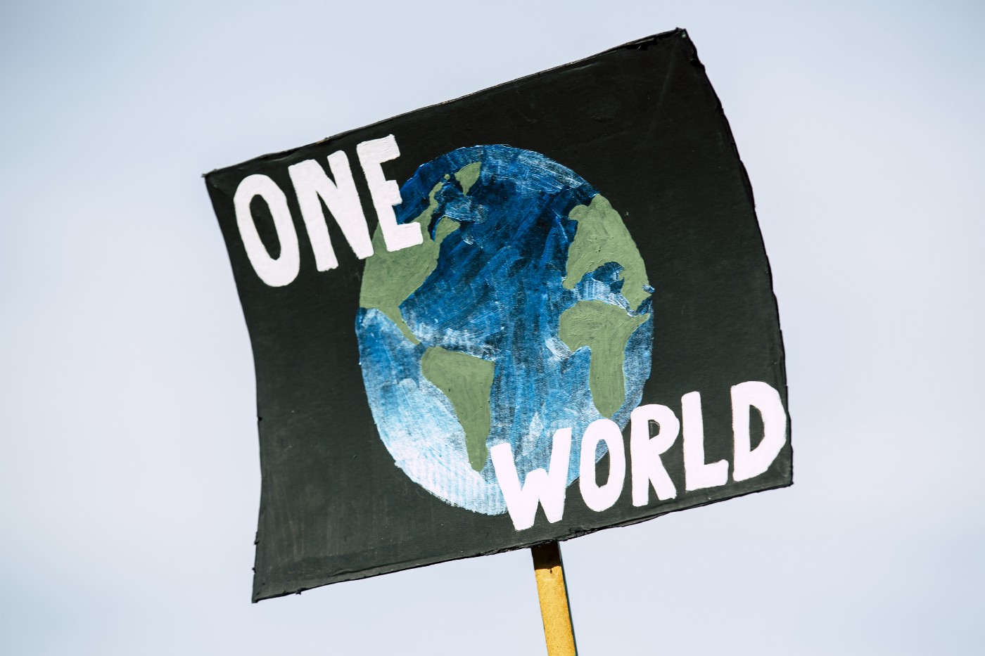 """A handmade sign of planet Earth with black background and white lettering saying """"One World"""" in all caps. Likely used at a protest."""