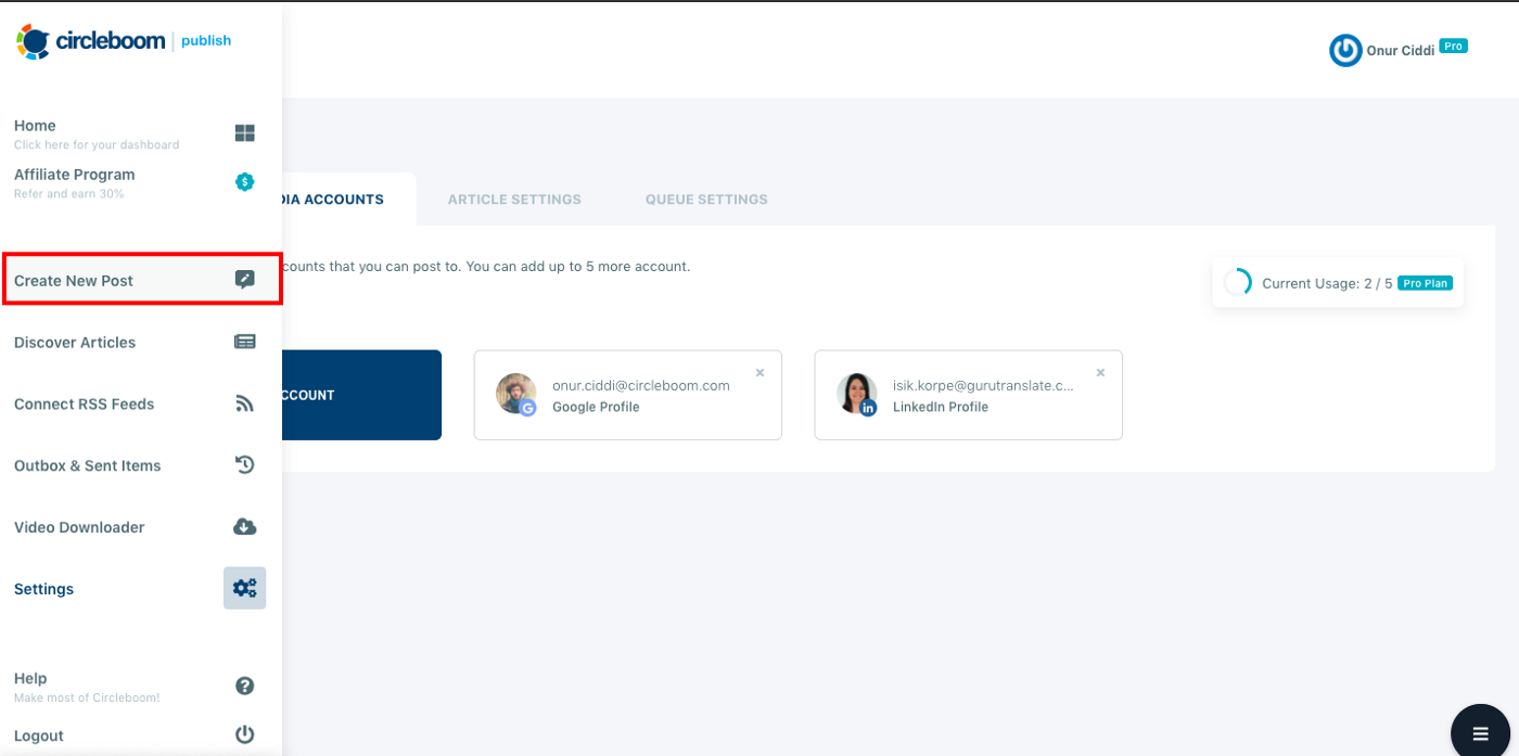 On create new post dashboard, you can schedule posts on LinkedIn Company Page that are linked to Circleboom.