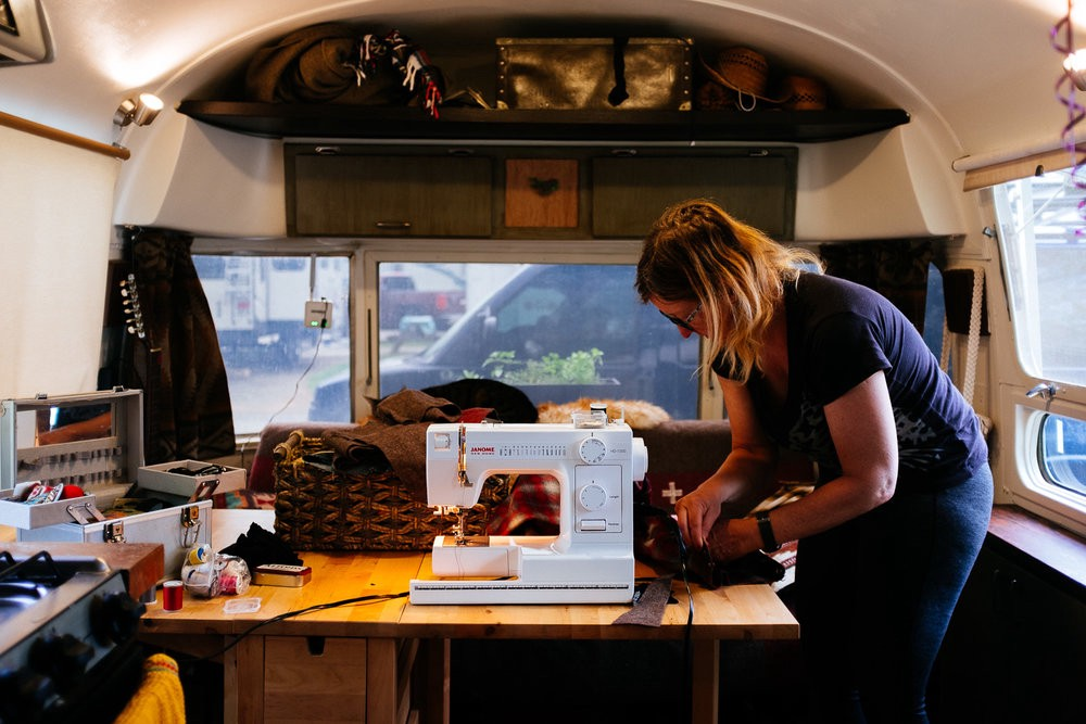 Me doing a little sewing with my new sewing machine.