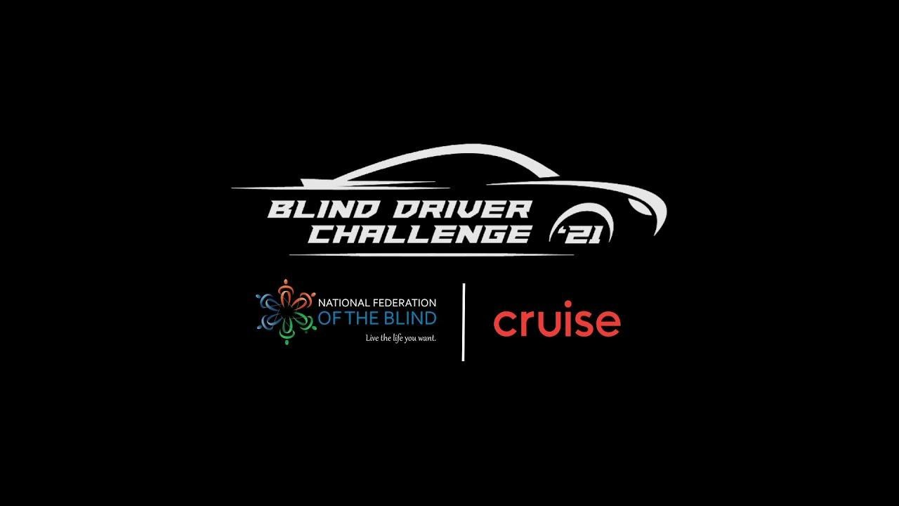 Alt text: Image of the logo for the 'Blind Driver Innovation Challenge'. The logo is a white outline of the car with the text 'Blind Driver Innovation Challenge 21' on its body. The background is black.