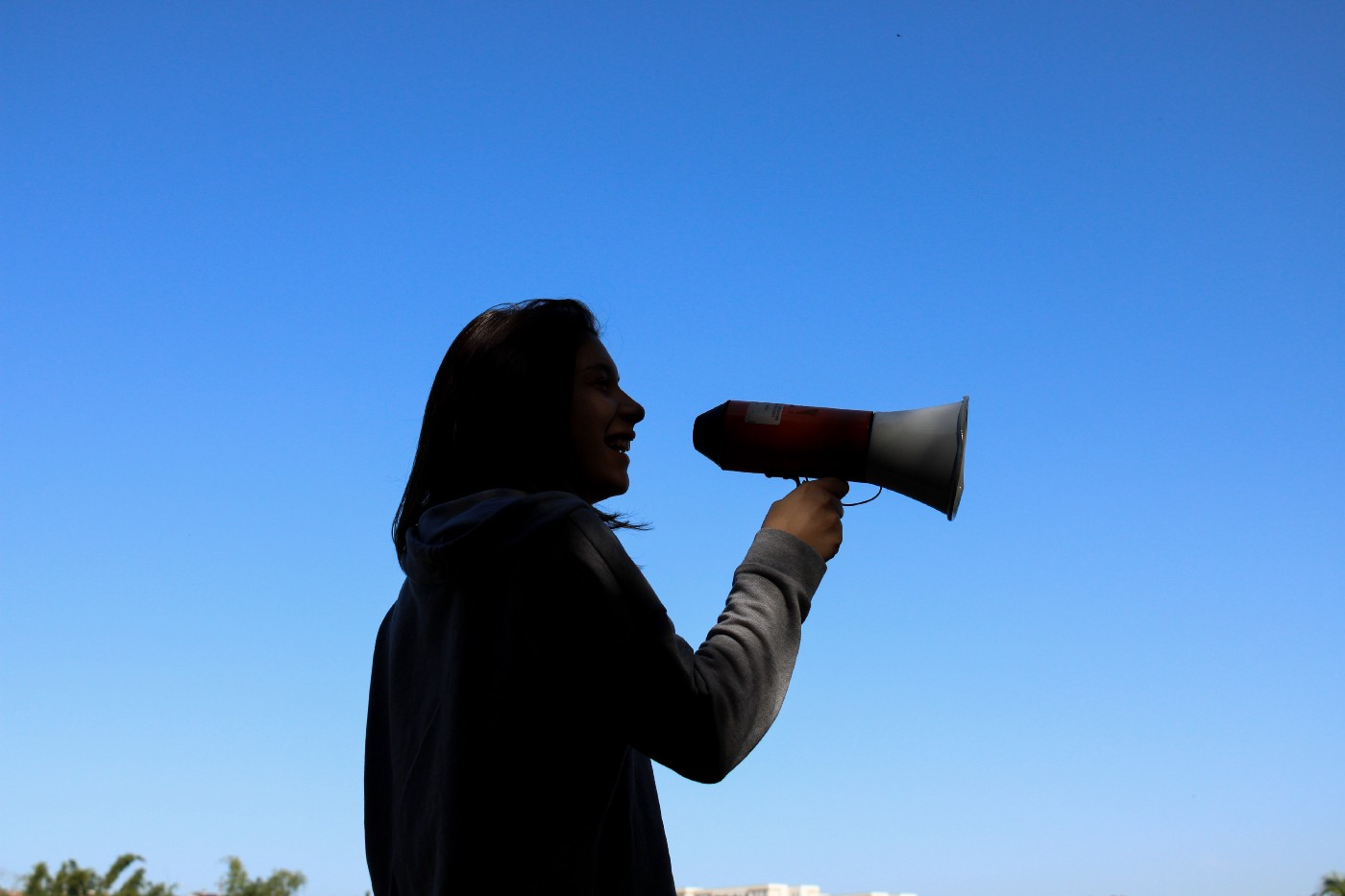 Person with a bullhorn.