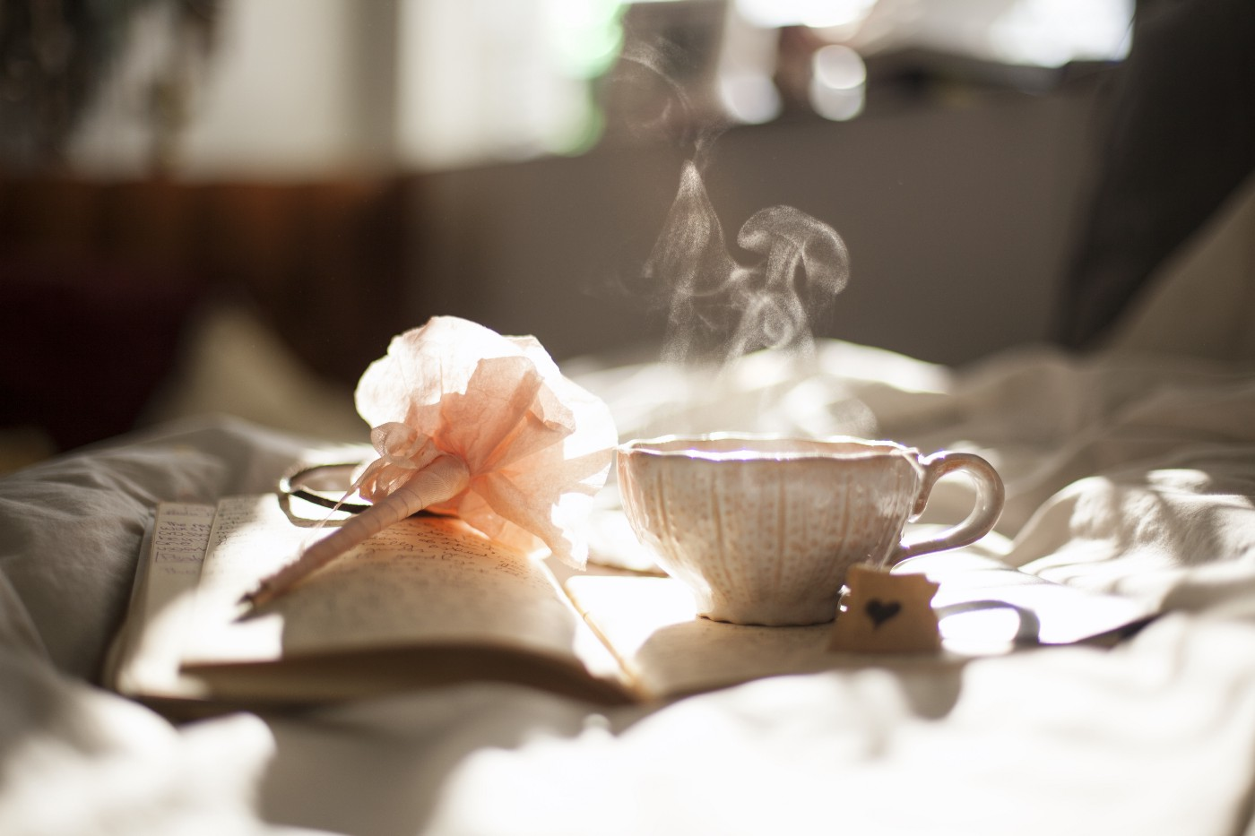 A pen, a book and glass of warm tea place on tablecloth in sunshine