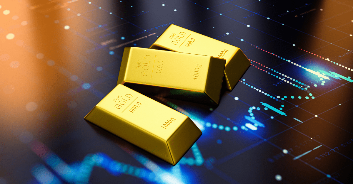 gold bards over a trading chart
