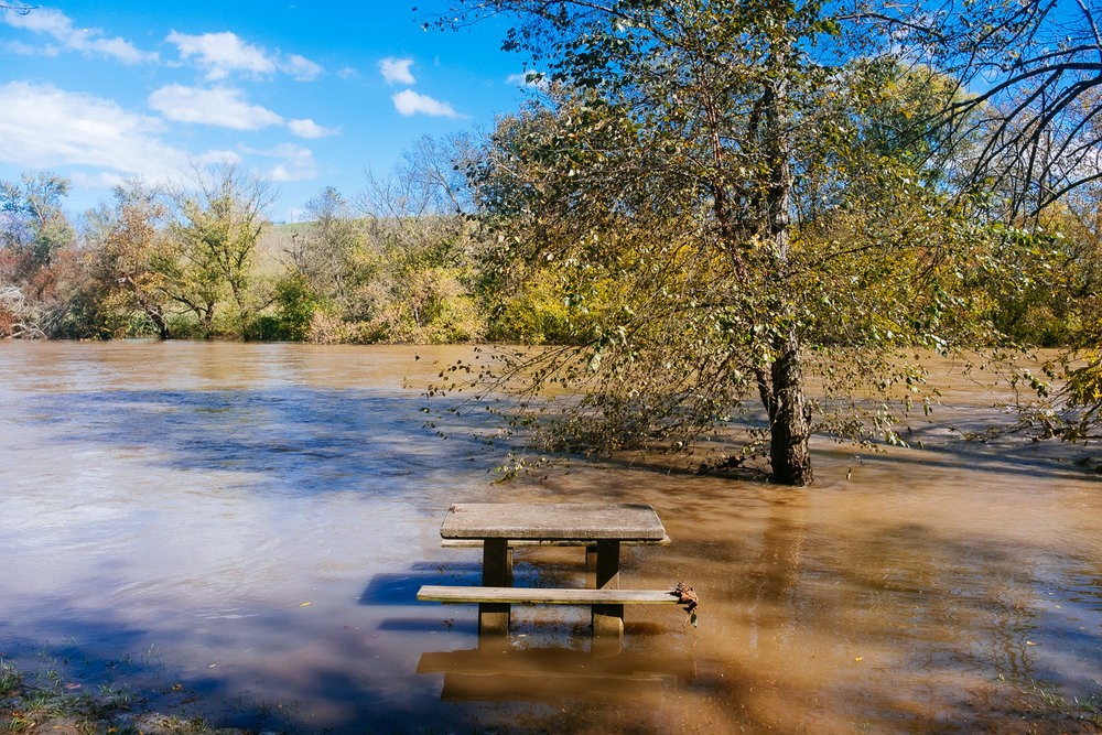 The French Broad River in Asheville North Carolina after a big Fall rain.