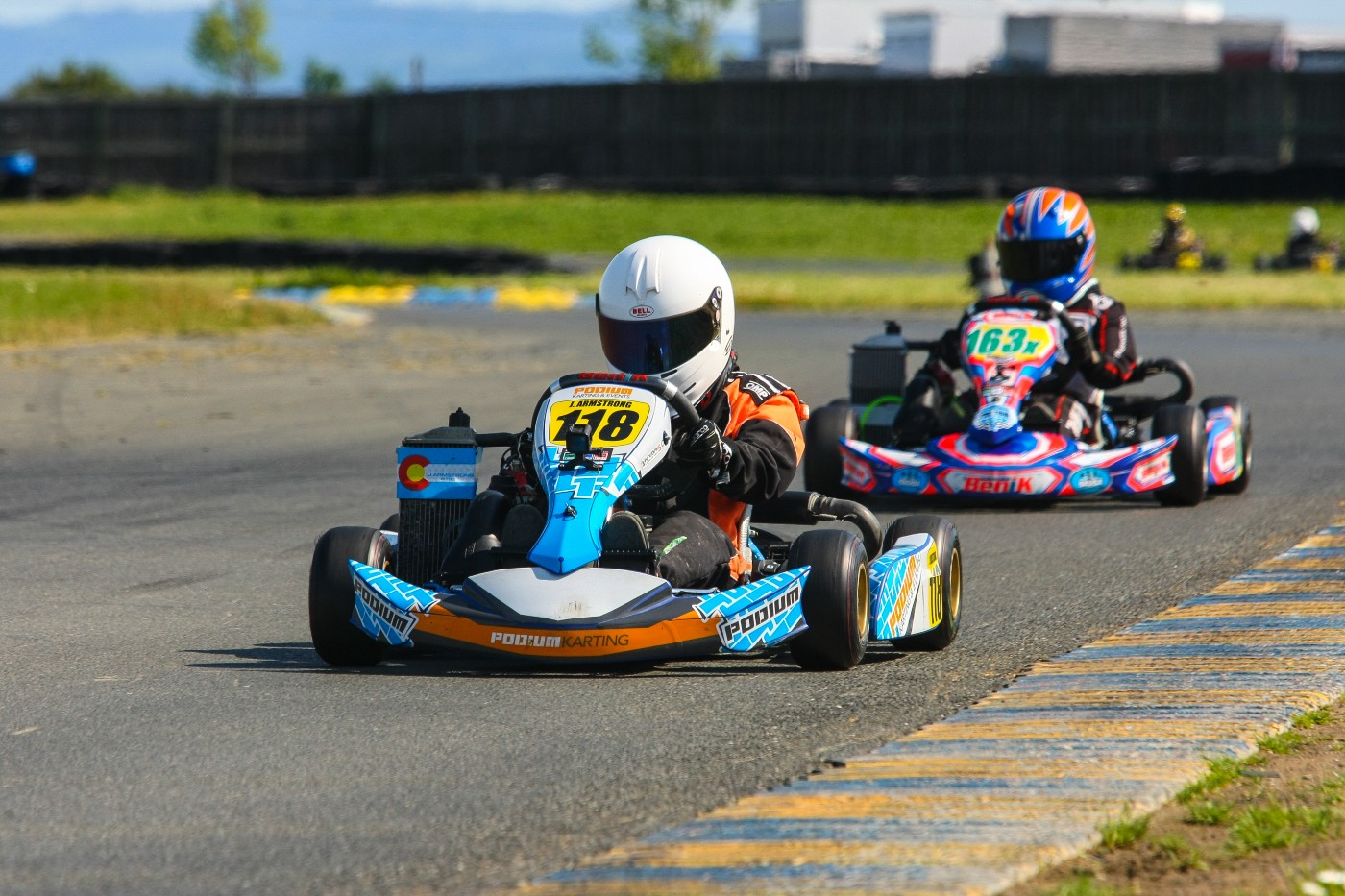 Two go-karting.