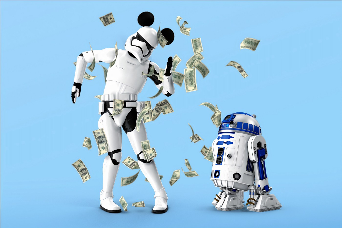 Two Star Wars characters dancing in money falling from the sky