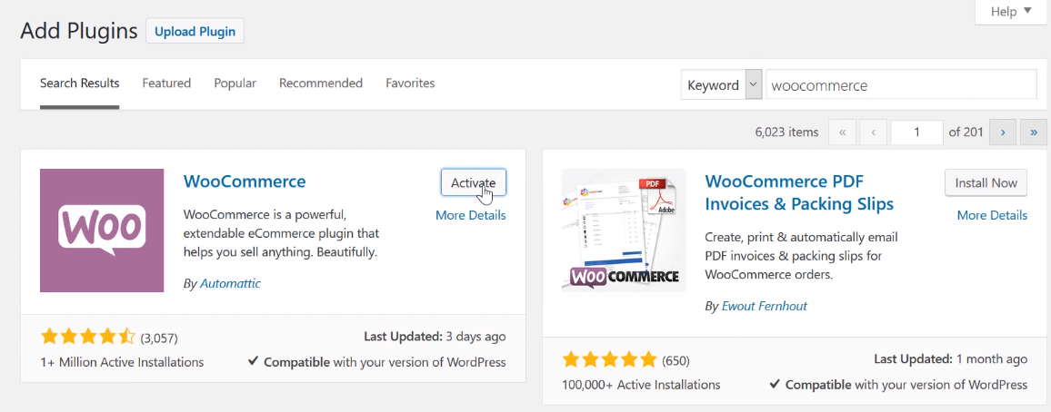 Search for WooCommerce and install - How To Set Up WooCommerce