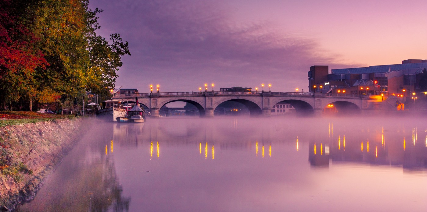 Misty dawn on the River Thames
