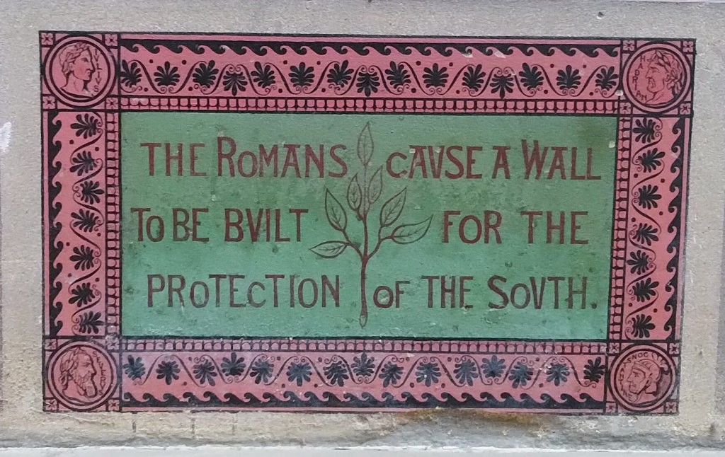 Painted inscription on a wall: The Romans cause a wall to be built for the protection of the South
