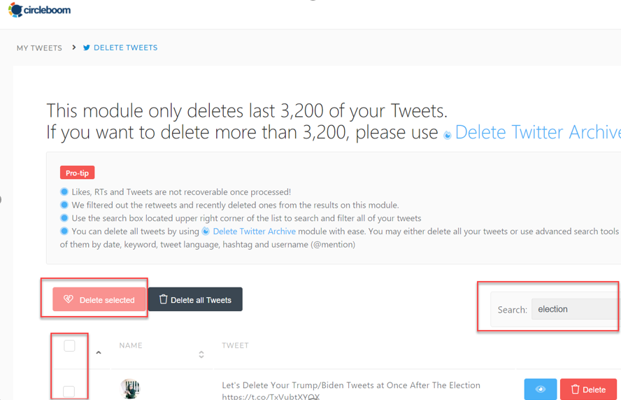 Circleboom will list all your tweets that contain the search term.