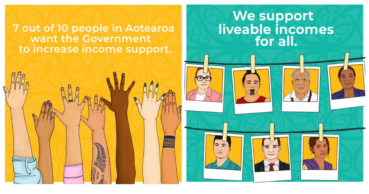 Two images side by side. The one on the left is of seven arms holding up their hands with the text '7 out of 10 people in Aotearoa want the government to increase income support on a yellow background. On the right seven polaroid pictures of folks are hanging on two lines under the statement 'We support liveable incomes for all' on a turquoise background.