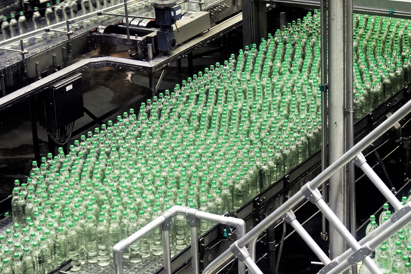 Bottles moving through an actual factory.