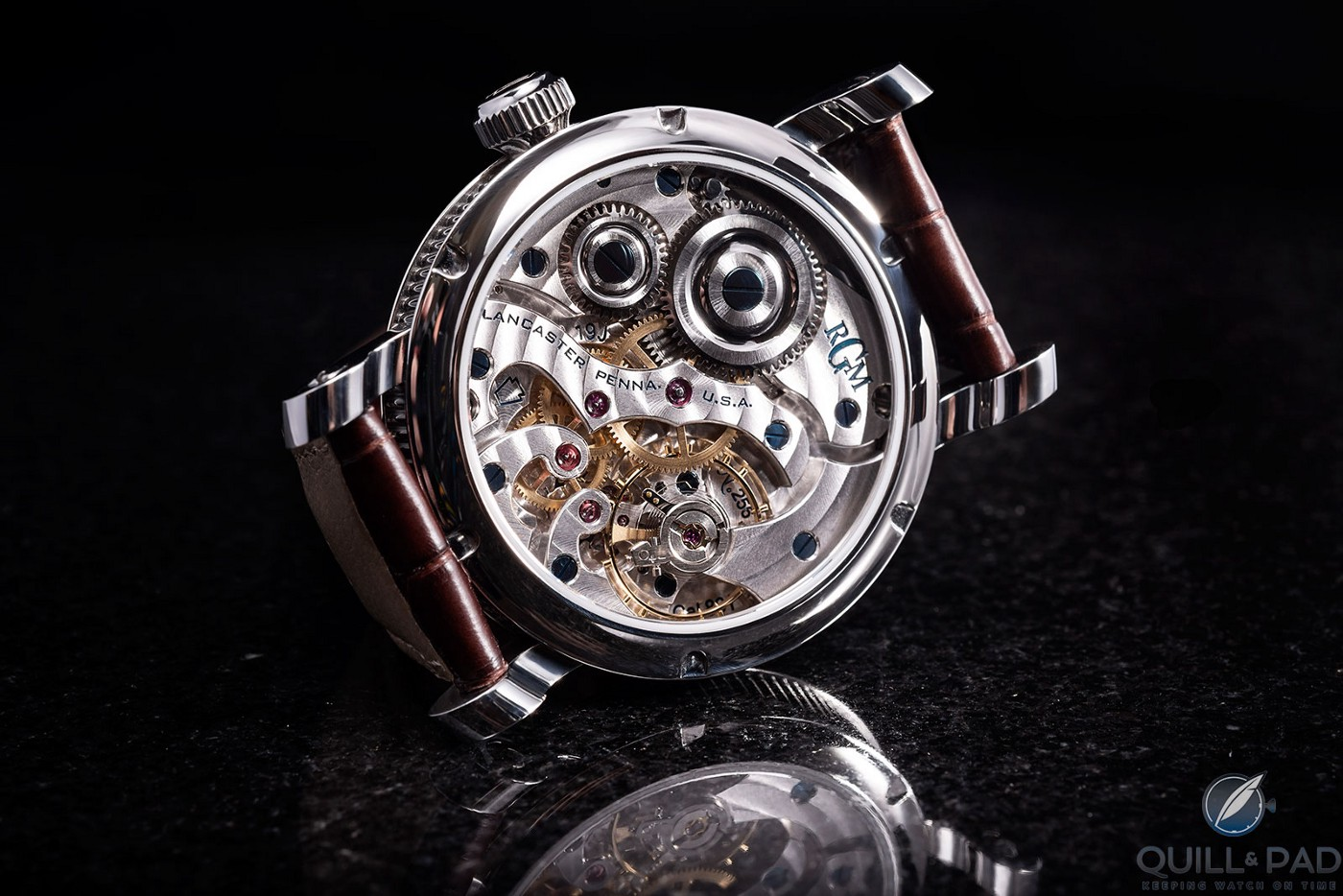 View through the display back to the RGM Caliber 801 movement in the Classic Enamel