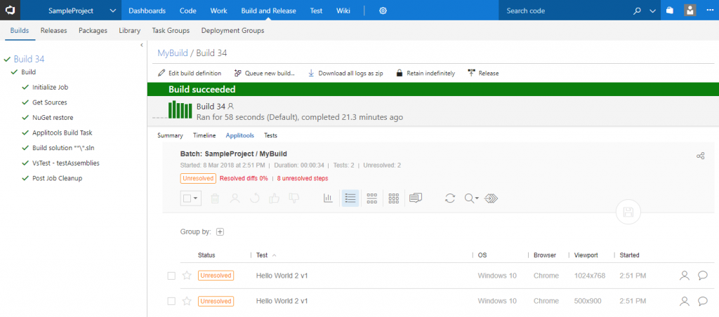 Eyes Results in VSTS