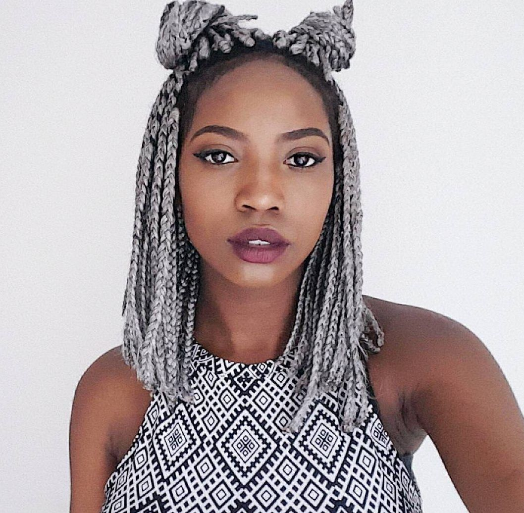 The double braided bun style in grey