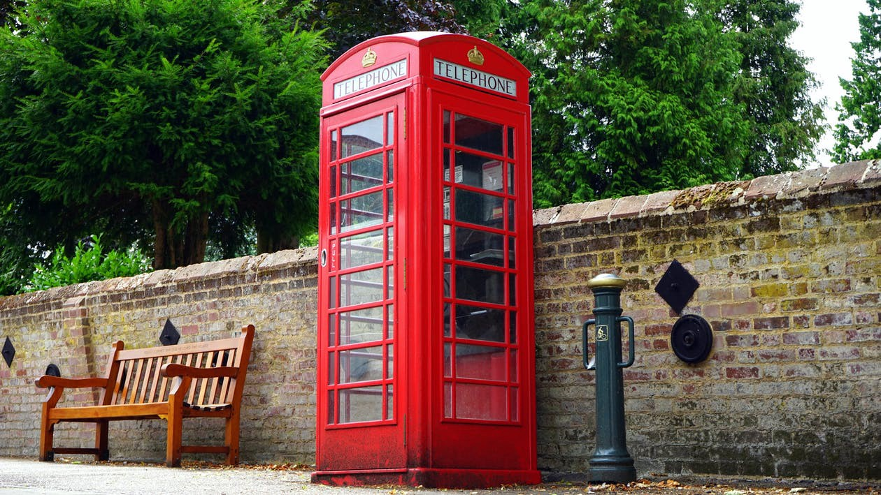 A typical red phone booth