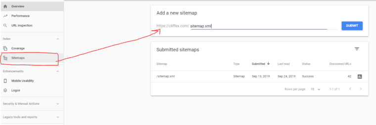 type the URL where your file is located (sitemap.xml if you did the previous step)