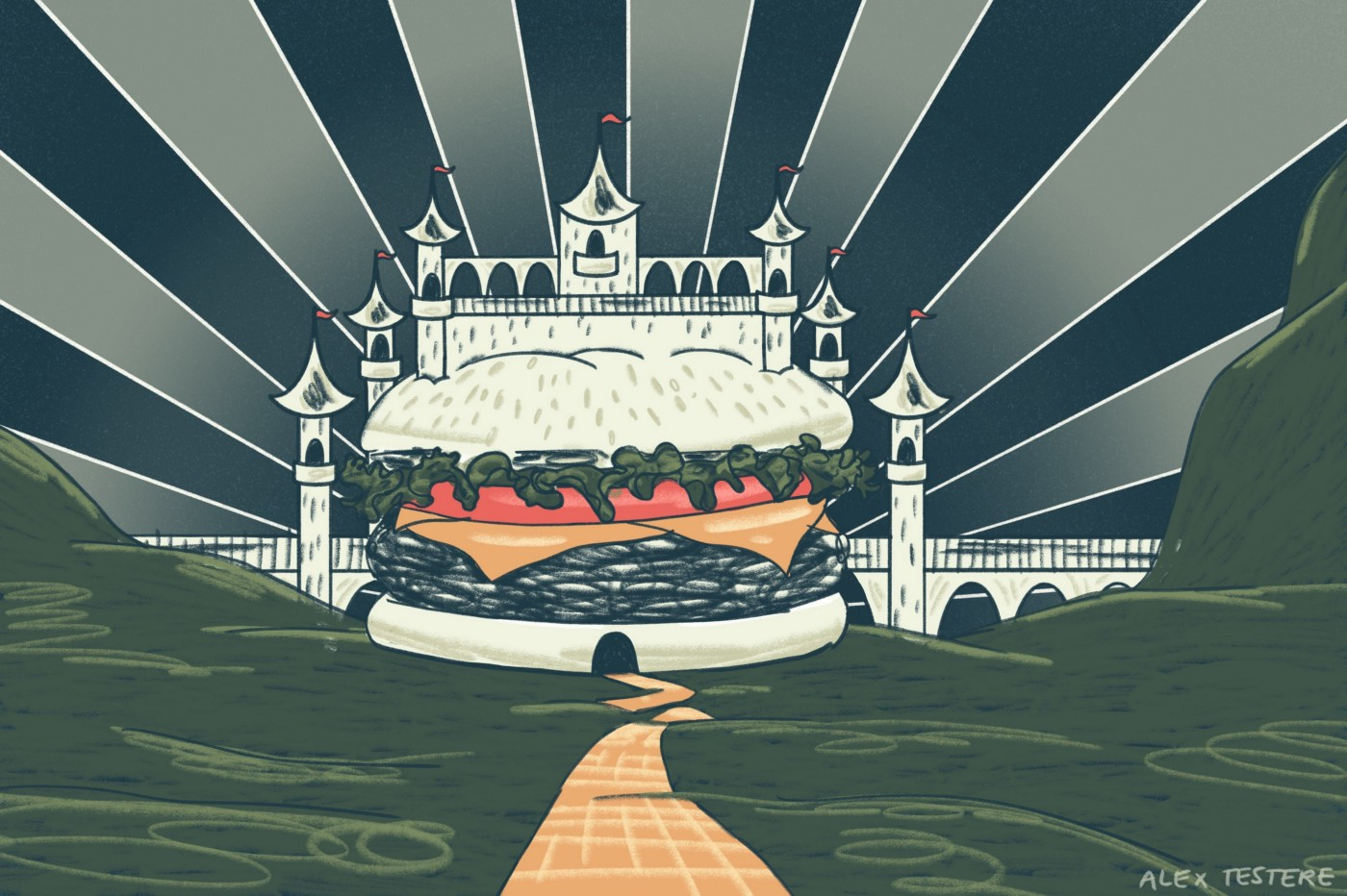 A drawing of a hamburger castle.
