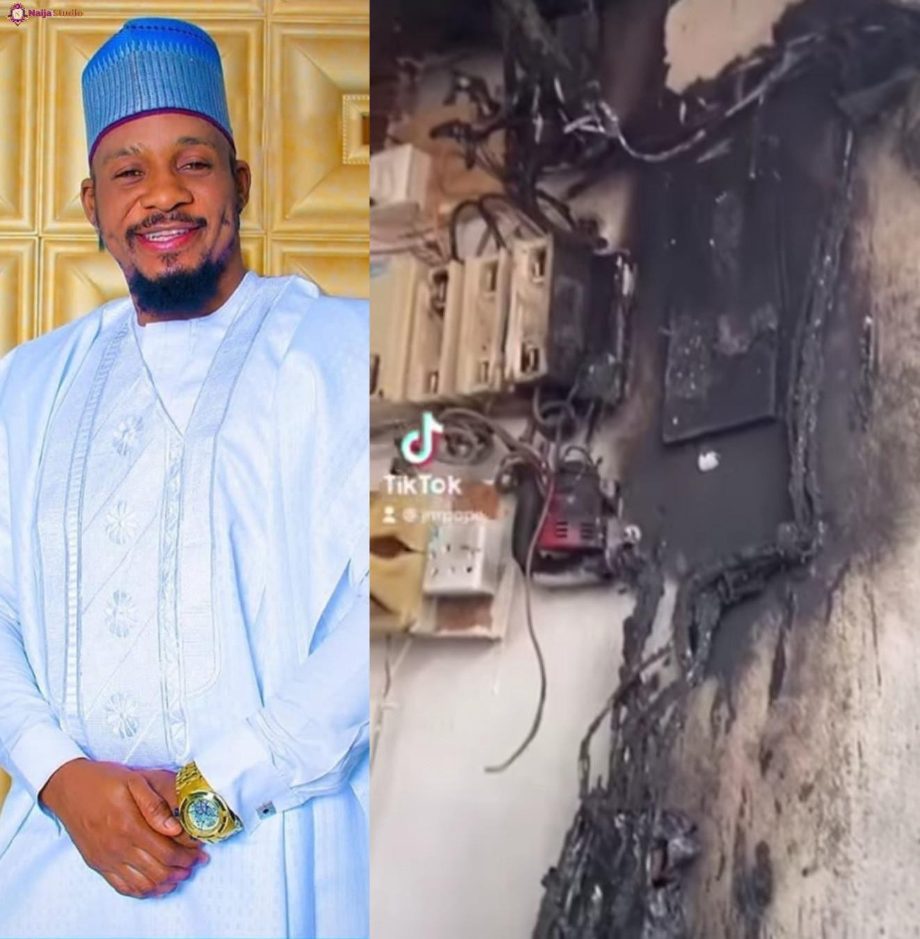 Nollywood Actor Junior Pope Odonwodo and his family escape death as fire breaks out at their home while they slept