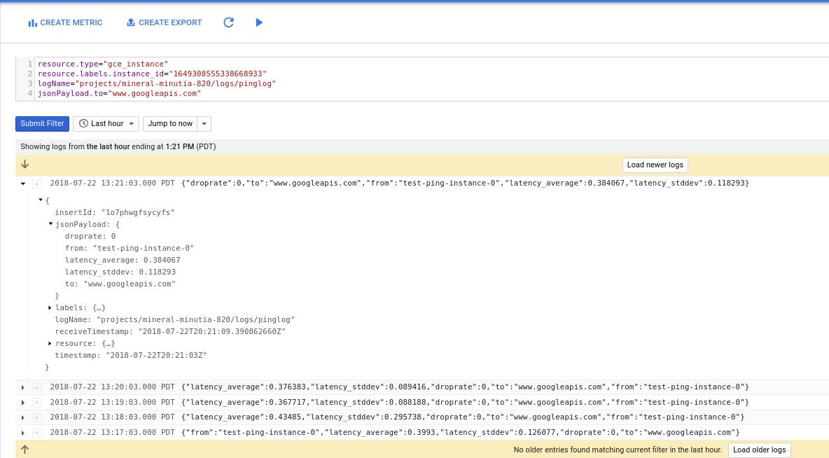 Using collectd ping plugin to monitor VM->VM latency with Google