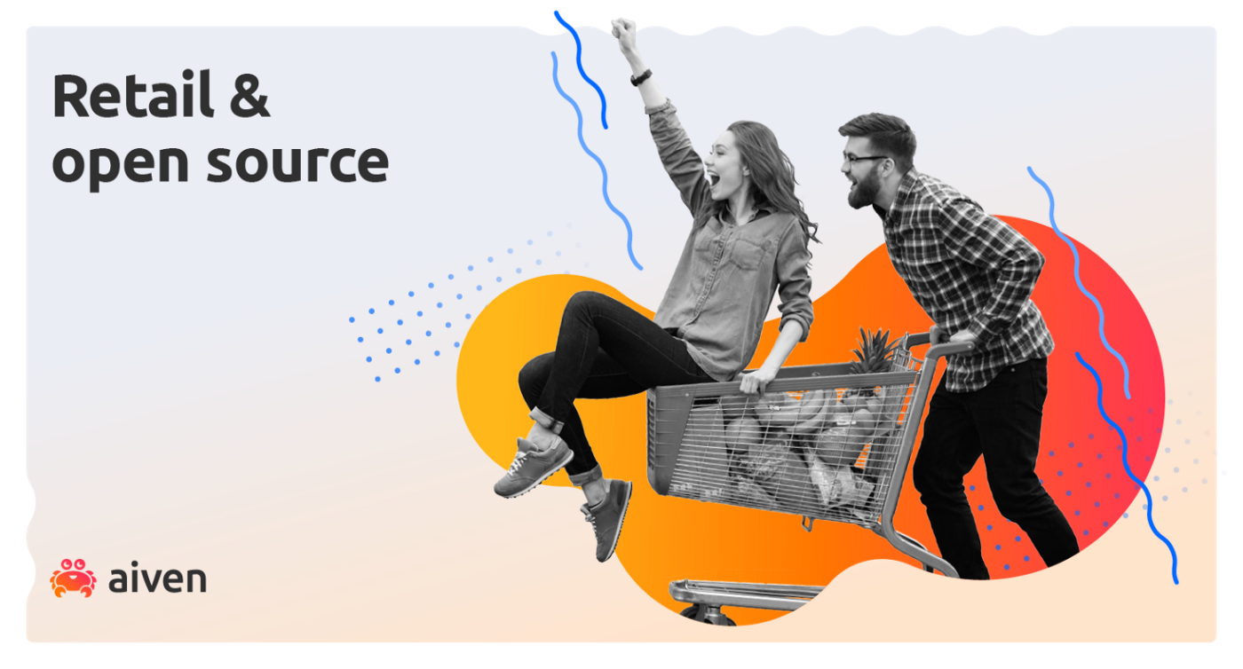 A couple push a shopping cart full of produce towards a webinar discussing how retail and eCommerce can leverage open source cloud technology