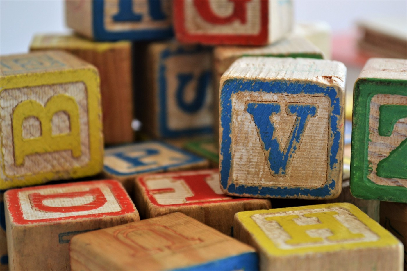Colorful toy blocks with letters