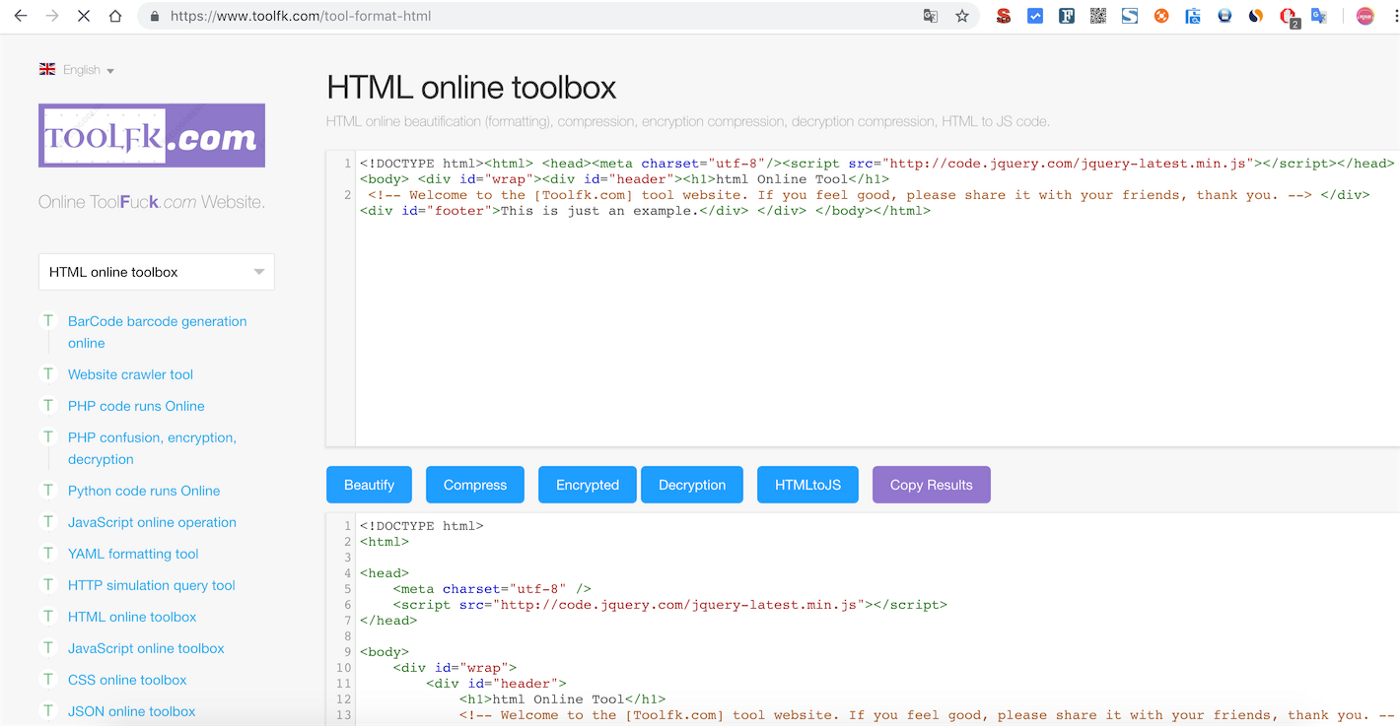 HTML online for code formatting, beautification, encryption