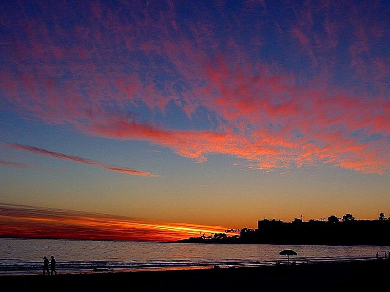 Blue and red sunset on a California coast