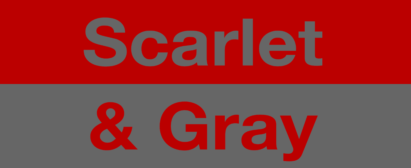 Image depicting the colors scarlet and gray, with the words 'scarlet and gray' set over each opposite color.