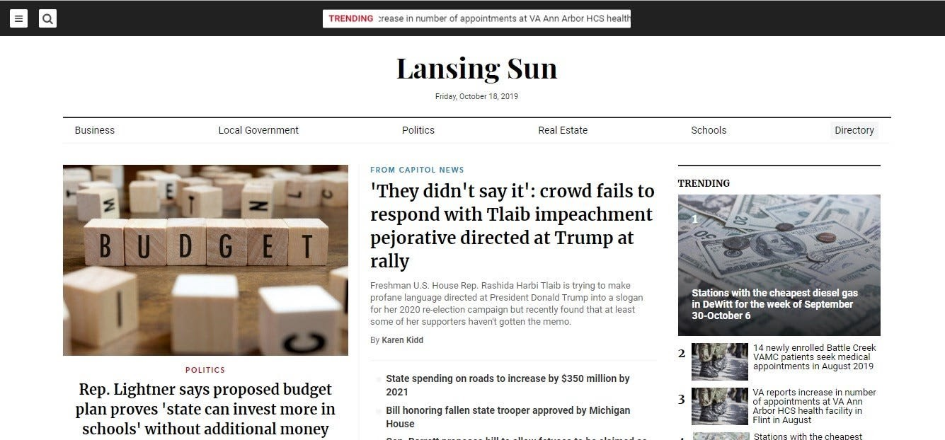 A screenshot of  Lansing Sun's website, which appears to be a legitimate news site.