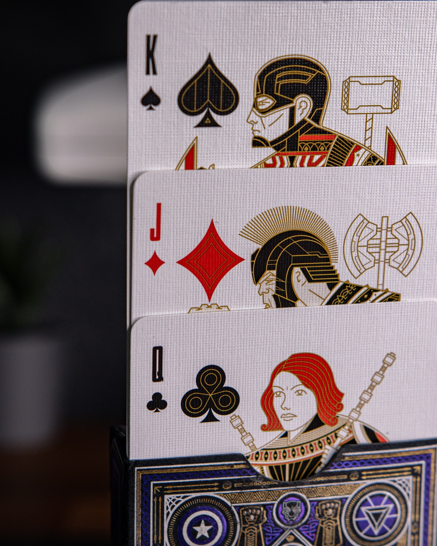 Fancy-looking playing cards featuring Marvel characters (Captain America, Hulk, Black Widow)