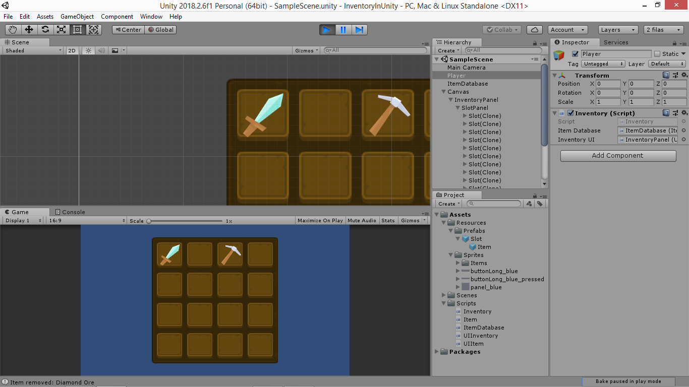 Create an Unity inventory: part 4: Display items in UI