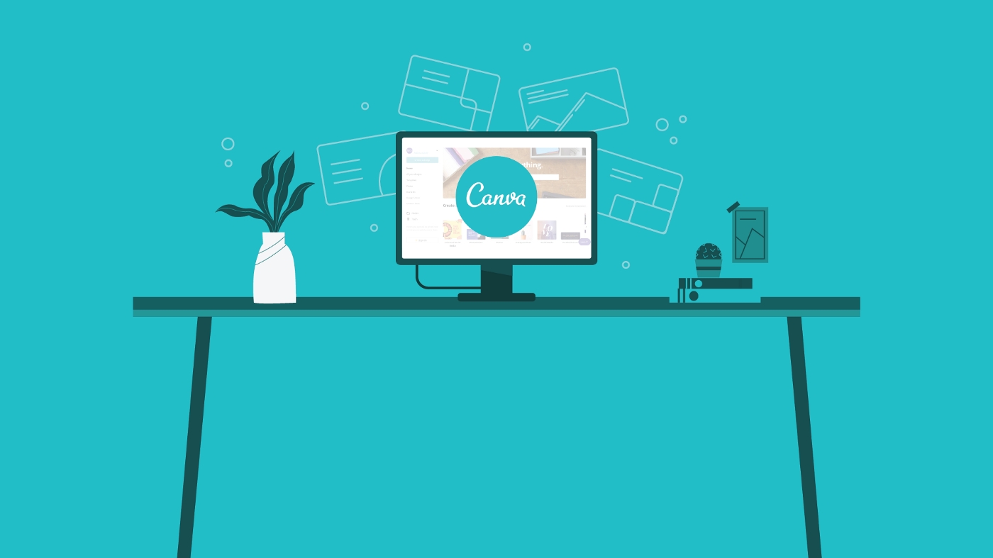 Graphical desk with a computer and the Canva logo.