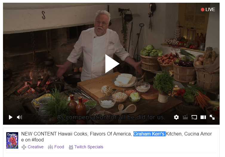 twitch live cooking show