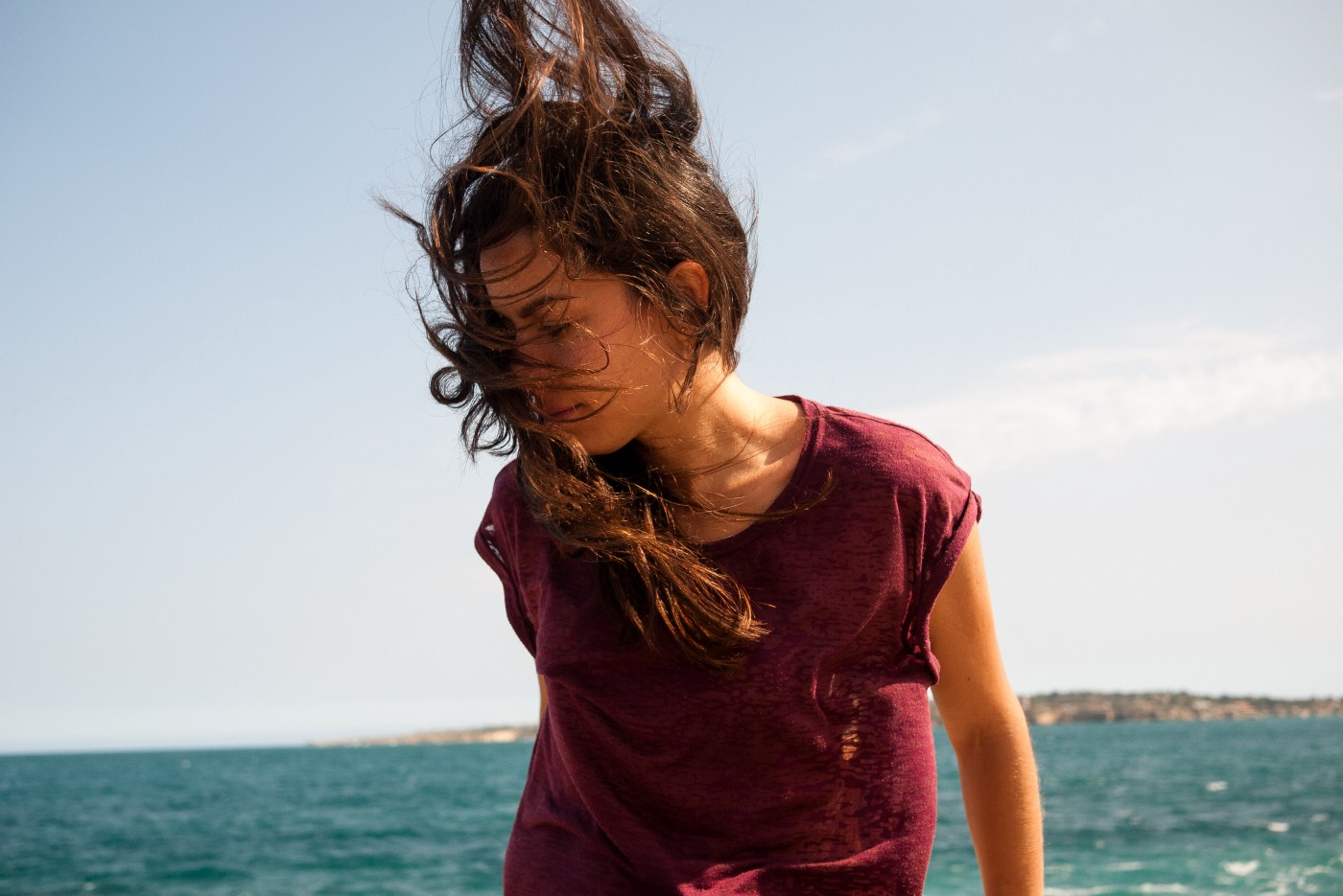 girl in a windy day