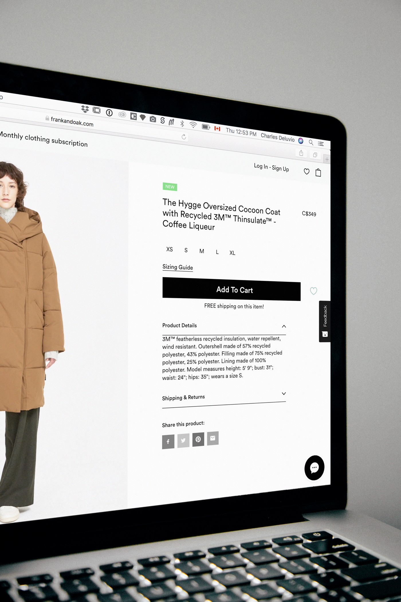 Sales page for a cocoon coat.