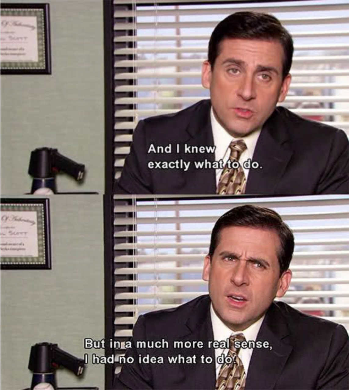 """A meme from 'The Office' saying: """"and I knew exactly what to do, but in a much more real sense, I had no idea what to do"""""""