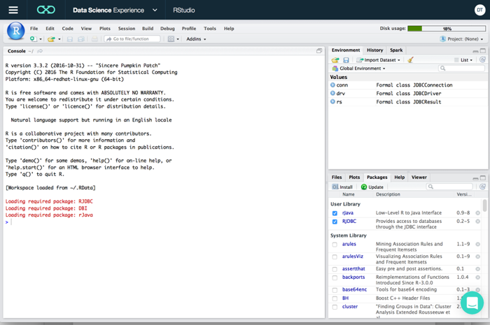 Connecting DSX — RStudio to on-prem DB2 for z/OS database