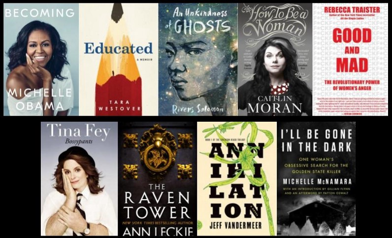 A collage of book covers—michelle obama, tina fey, raven tower, educated, tara westover, lindy west, annihilation,